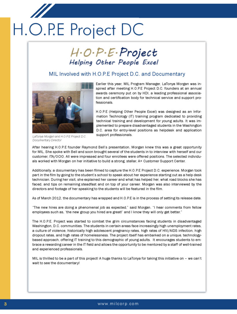 Hope Project Hope Project Program And Students Spotlighted In